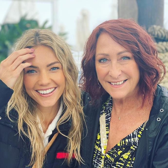 Lynne McGranger and Sam Frost were all smiles as they wrapped up on set in February.