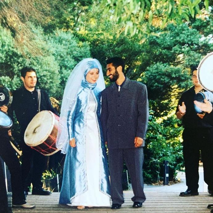 Newlyweds Susan and Waleed in 2002.
