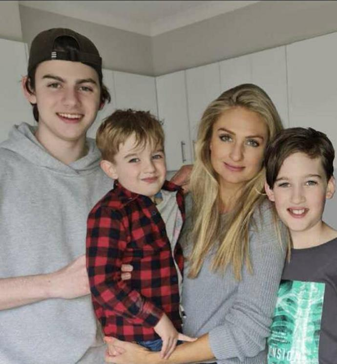 With her sons Ryder, Mackai and Cayden.