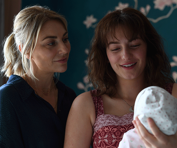 Kate as midwife Grace, with Alexandra Jensen, who pays her teenage daughter Sophie.