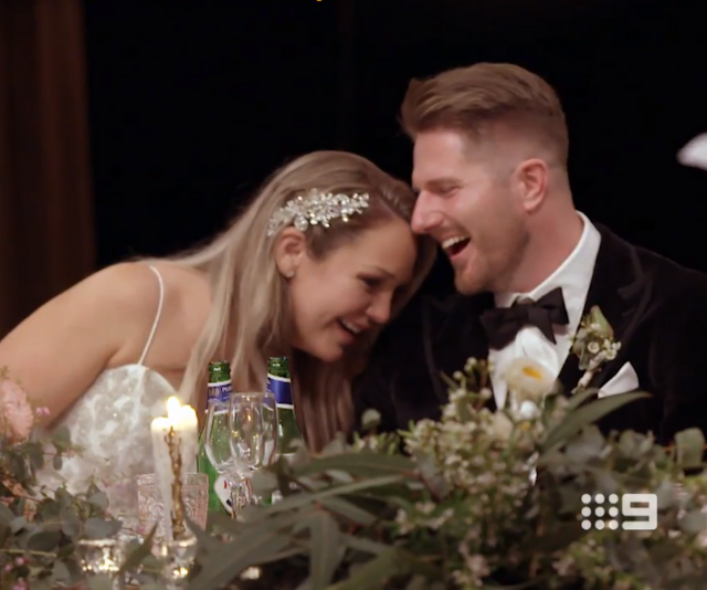 **Bryce & Melissa** <br> Having never been on a date, 31-year-old Melissa was understandably nervous to meet her new husband, radio presenter Bryce.<br>  Despite a few awkward moments, trepidations and Bryce's confession about his engagement, the couple seemed to hit it off quite well.
