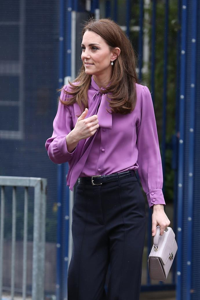 The Duchess wore her own version of the humble pink shirt.