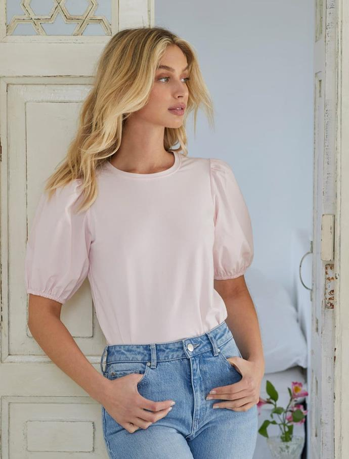 """Forever New Blaire Poplin Sleeve Tee, $31.99 (on sale). [Buy it online here](https://www.forevernew.com.au/blaire-poplin-sleeve-tee-264984?colour=pink+oyster