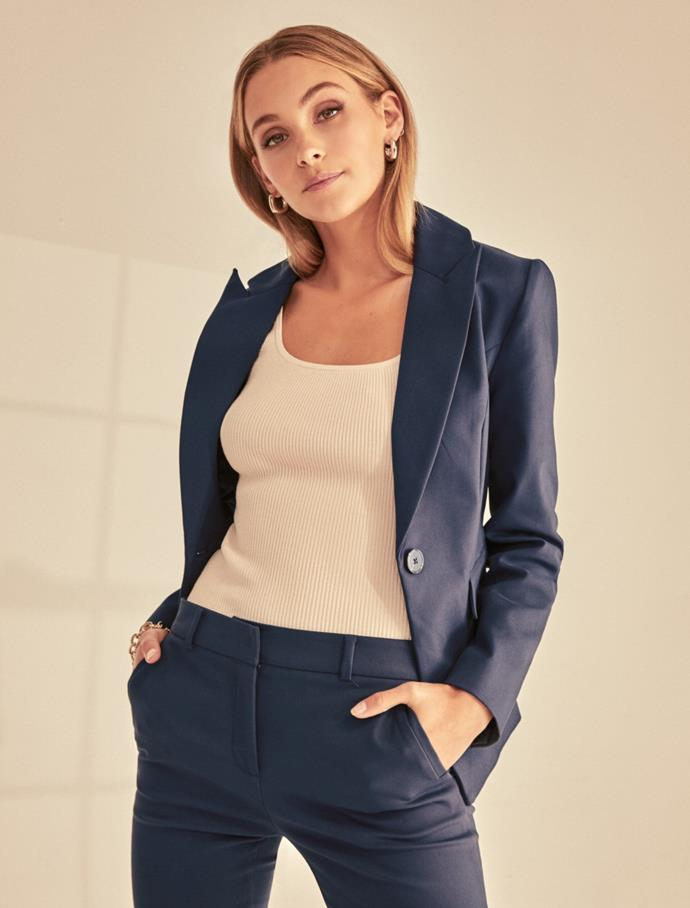 """Forever New Annie Fitted Blazer, $129.99. **[Buy it online here](https://www.forevernew.com.au/annie-fitted-blazer-266828?colour=steel-blue