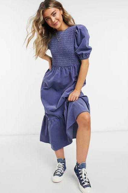 "ASOS Design Cord Shirred Midi Smock Dress, $76. **[Buy it online here](https://www.asos.com/au/asos-design/asos-design-cord-shirred-midi-smock-dress-in-blue/prd/21403106 target=""_blank"" rel=""nofollow"")**"