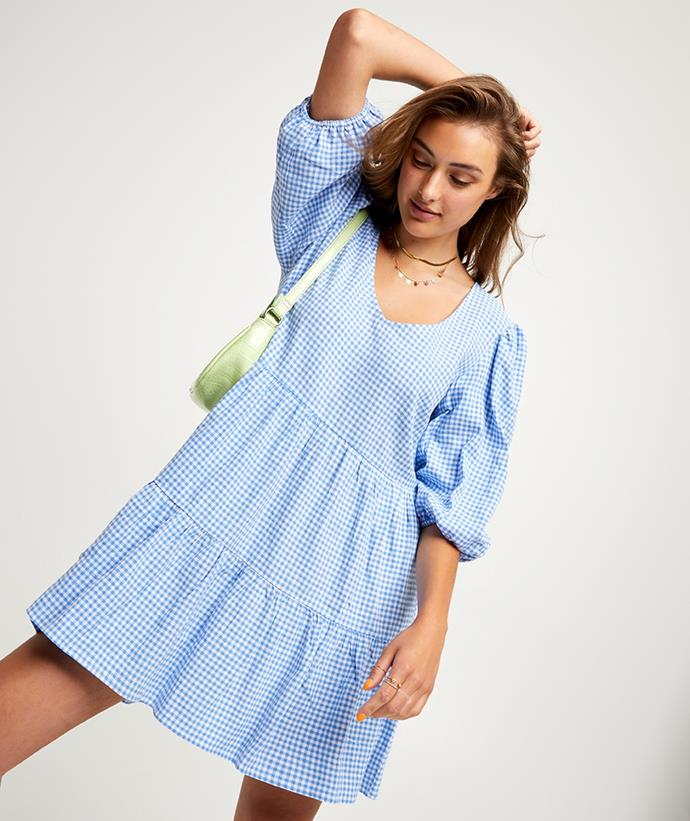 "Sportsgirl Gingham Tiered Mini Dress, $69.95. **[Buy it online here](https://www.sportsgirl.com.au/gingham-tiered-mini-dress-2-060902#color=1291 target=""_blank"" rel=""nofollow"")**"