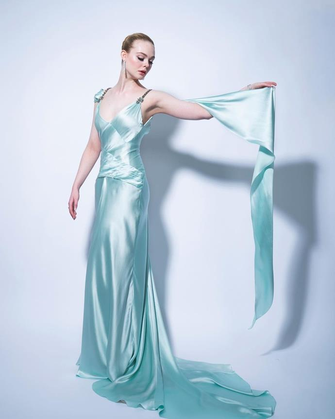 Elle Fanning shared several stunning images in this ice blue gown by Alessandro Michele, the creative director of Gucci.