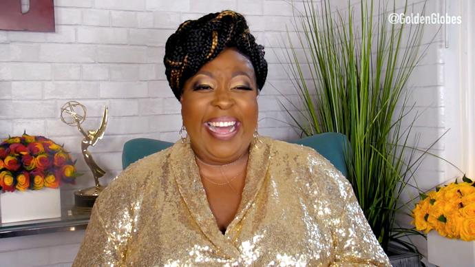 US comedian Loni Love bright a bit of glimmer to the mix in this gold sequined get-up.