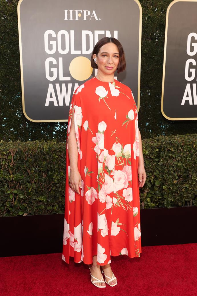 The ever beautiful Maya Rudolph opts for a bright floral floaty dress.