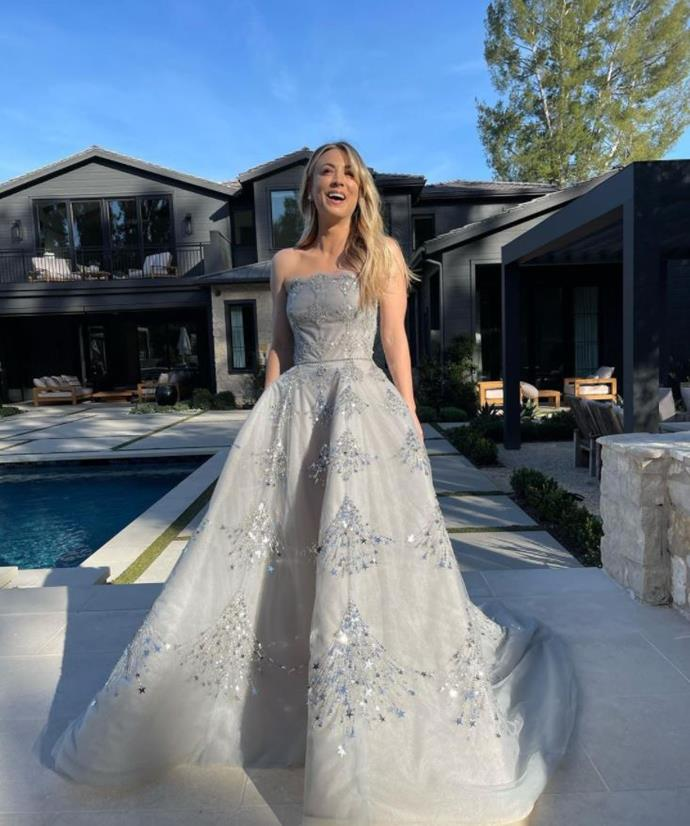 *The Big Bang Theory*'s Kaley Cuoco is radiant in this ice grey Stuart Weitzman gown - quite the dress for a backyard photo shoot.