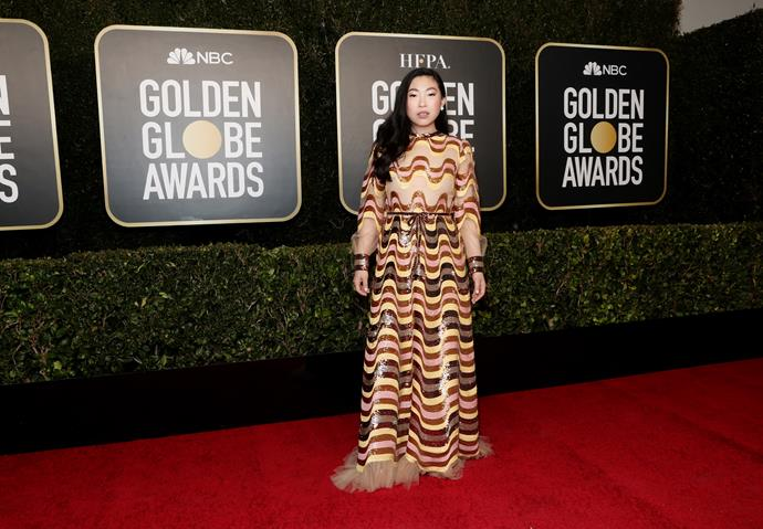The stunning Awkwafina opts for a unique print as she hits the red carpet.