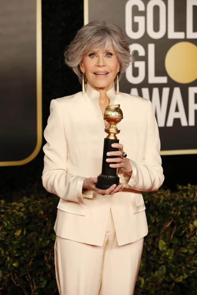 The formidable Jane Fonda is radiant as ever at 83 - with her natural hair colour and on-point makeup look finishing the look off her awards night look to perfection.