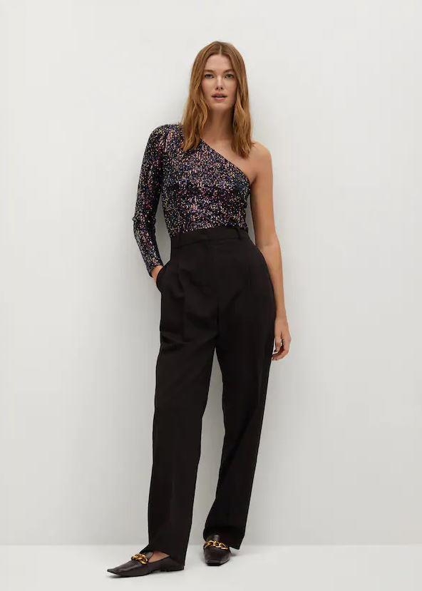 """Sequin chic is defined by this one-shoulder top from Mango, $49.95 (on sale). **[Buy it online here](https://shop.mango.com/au/women/shirts-sleeveless/asymmetric-sequin-top_77049209.html?c=CO&talla=21