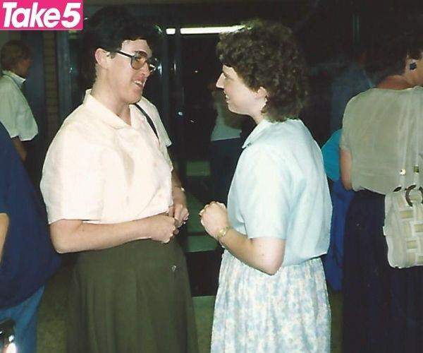 Kathy (right) and Gayel meeting for the first time.