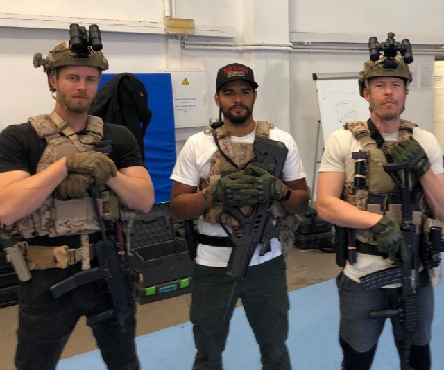 Luke and Todd ready for combat (and filming).