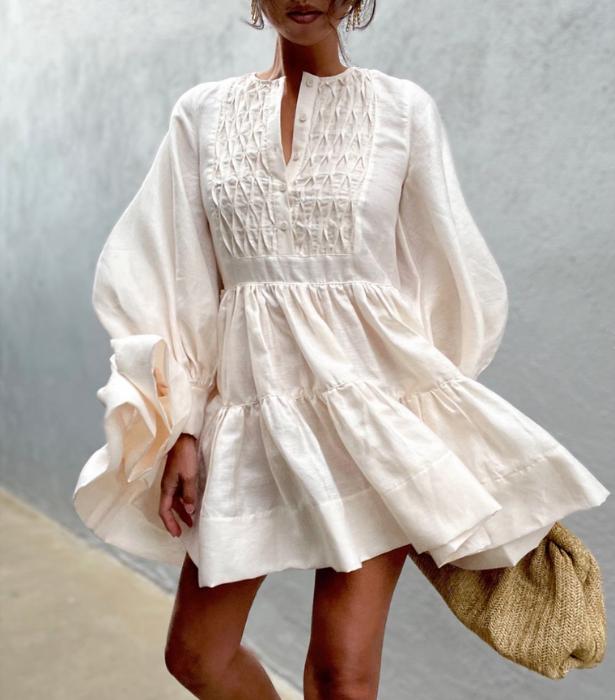 "We are in love with Shona Joy's [Margaux Linen Tuxedo Shirt Dress.](https://shonajoy.com.au/products/margaux-linen-tuxedo-shirt-dress-ecru|target=""_blank"")"