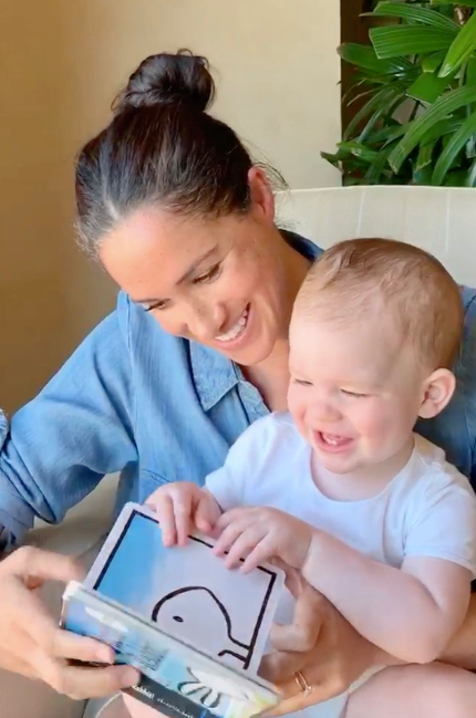 Meghan and her son read a book together to celebrate Archie's first birthday.