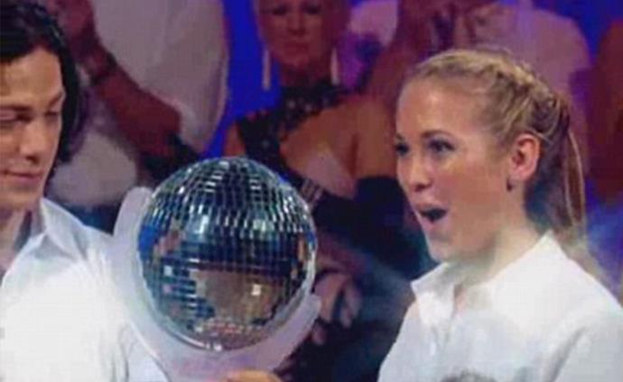 Winners are grinners: Bec and Michael walked away victorious with the coveted mirror ball trophy.
