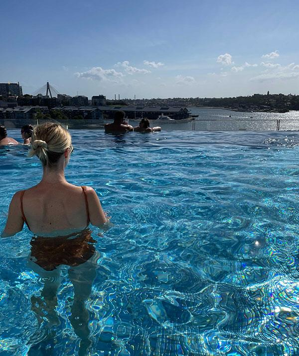 The buzzing rooftop pool is the place to be seen.