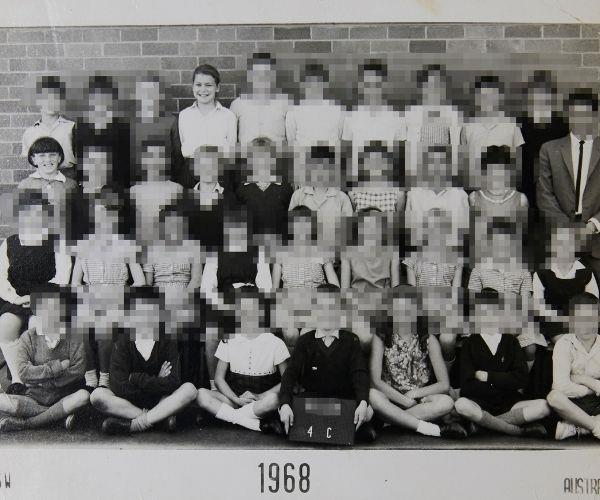 We met at school. Joanne is in the back row, I'm on the second row from the back.