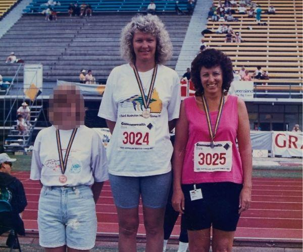 Us at the Javelin Australian Masters in Brisbane, 1999.  Joanne (middle) won a gold medal.