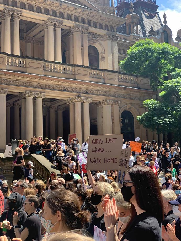 Protesters gathered in Sydney today as thousands marched for women's justice.