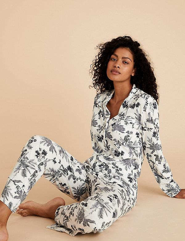 """Florals for Spring (and all year round for that matter) will never *not* be groundbreaking. This cute cotton set from Marks & Spencer will make for the cosiest couch sesh you ever did see. $65, **[buy it online here](https://www.marksandspencer.com/au/cotton-modal-revere-collar-floral-pyjama-set/p/P60463368.html target=""""_blank"""" rel=""""nofollow"""")**"""