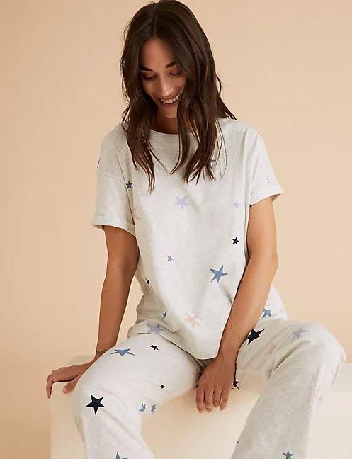 """This star print tee-shirt combo from Marks & Spencer is as perfect as the night's sky. $27.50, **[buy it online here.](https://www.marksandspencer.com/au/star-print-short-sleeve-pyjama-set/p/P60462869.html target=""""_blank"""" rel=""""nofollow"""")**"""