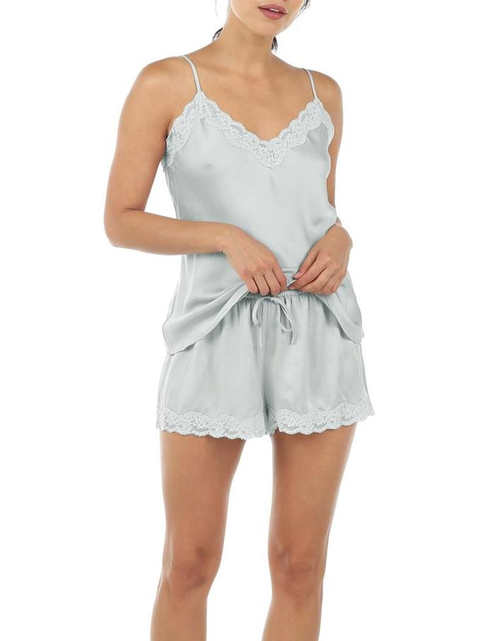 """Papinelle bring their PJ A-game with cute lighter styles, as well as comfy cosy toasty sets. This pure silk sets is what dreams are made of, quite frankly. $189.95, **[buy it online here](https://www.papinelle.com/collections/pjs-and-separates/products/pure-silk-lace-cami-and-boxer-set-in-sage target=""""_blank"""" rel=""""nofollow"""")**"""