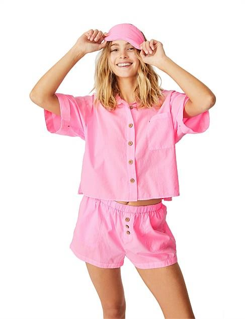"""Bring a pop of colour to the deep midnight blues of the evening with this cute as hell Cotton On PJ set. $49.99. **[buy it online via David Jones here](https://www.davidjones.com/Product/23877403 target=""""_blank"""" rel=""""nofollow"""")**"""