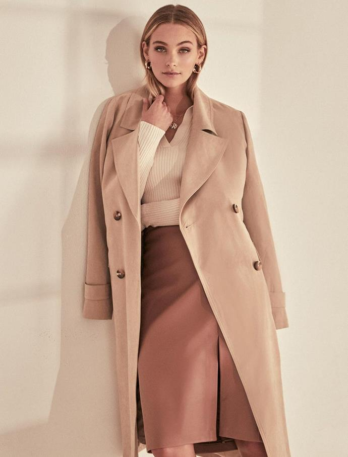 """Forever New Johanna Trench Coat, $159.99. **[Buy it online here](https://www.forevernew.com.au/265092-265092?colour=camel target=""""_blank"""" rel=""""nofollow"""")**"""