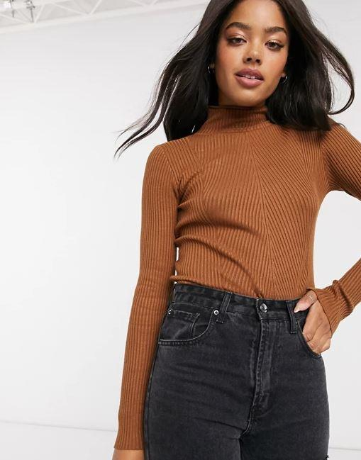 """Urban Bliss Jersey Ribbed High Neck Jumper, $40.00 (on sale). **[Buy it online here](https://www.asos.com/au/urban-bliss/urban-bliss-jersey-ribbed-high-neck-jumper-in-brown/prd/20719151 target=""""_blank"""" rel=""""nofollow"""")**"""