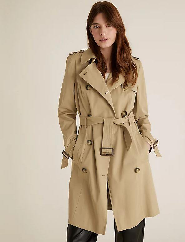 """Marks & Spencer Double Breasted Trench Coat, $119. **[Buy it online here](https://www.marksandspencer.com/au/double-breasted-trench-coat/p/P60370585.html target=""""_blank"""" rel=""""nofollow"""")**"""
