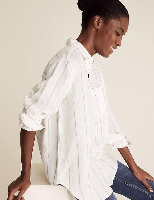 "Marks & Spencer Pure Linen Striped Oversized Shirt, $62.50. **[Buy it online here](https://www.marksandspencer.com/au/pure-linen-striped-oversized-shirt/p/P60496111.html|target=""_blank""|rel=""nofollow"")**"