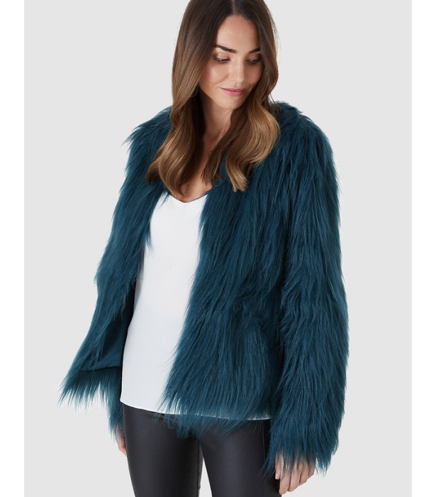 "Everly Collective [Marmont faux fur jacket in emerald, $149](https://www.theiconic.com.au/marmont-faux-fur-jacket-888557.html|target=""_blank"")"
