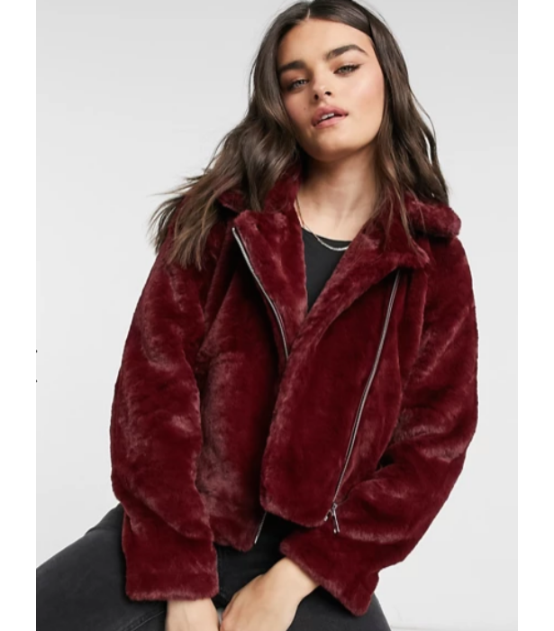 "From ASOS, the [Vero Moda faux fur biker jacket in red, $96](https://www.asos.com/au/vero-moda/vero-moda-faux-fur-biker-jacket-in-red/prd/21717278?colourwayid=60190377&SearchQuery=faux%20fur|target=""_blank"")"