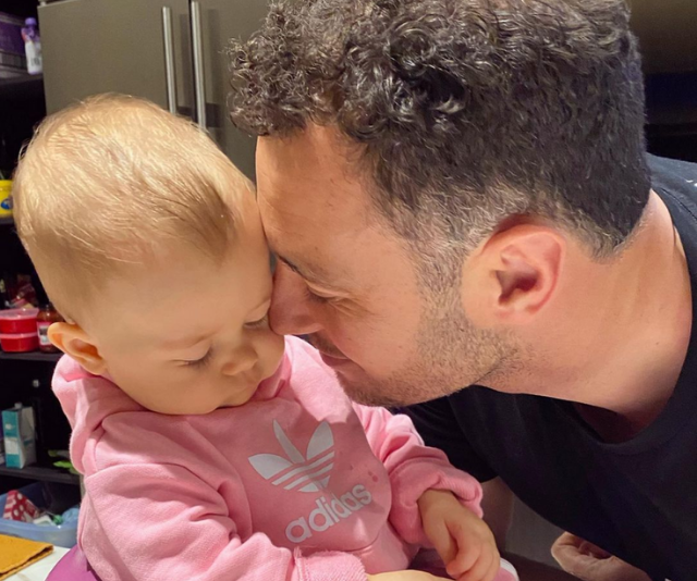 """""""Happy 1st Dad's Day! Thanks for being such a caring, loving and silly dad to Frankie. (And partner in crime w all things baby inc explosions from both ends daily- ETC!! 🙃) We love you!! Xx"""" Jen wrote."""