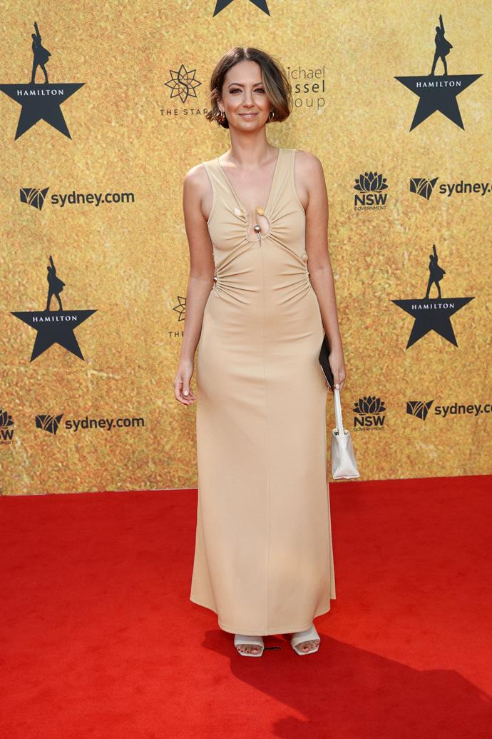 Brooke Boney opted for a beige ensemble for the glitzy night.