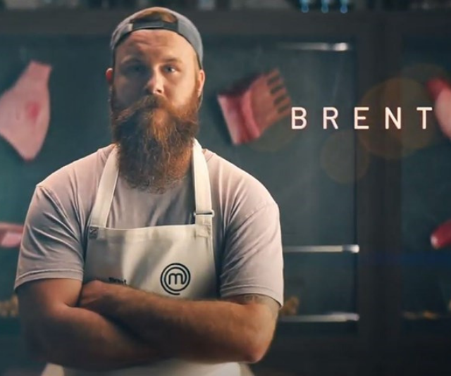 "**Brent**<br><br> Brent compares his cooking style to his face - ""not refined at all.""<br><br> A self-taught chef, this contestant grew up eating meat and three veg, but has learned on his own how to give his dishes that je ne sais quoi.<br><br> ""I found a passion that I didn't know was there."""
