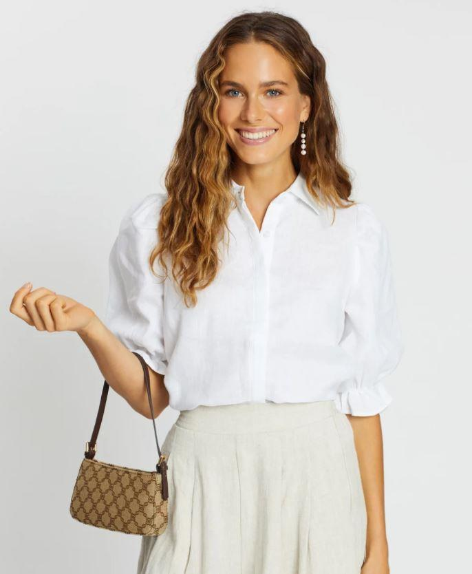 "Aere Frill Sleeve Shirt, $89. **[Buy it online via The Iconic here](https://www.theiconic.com.au/frill-sleeve-shirt-1004528.html|target=""_blank""