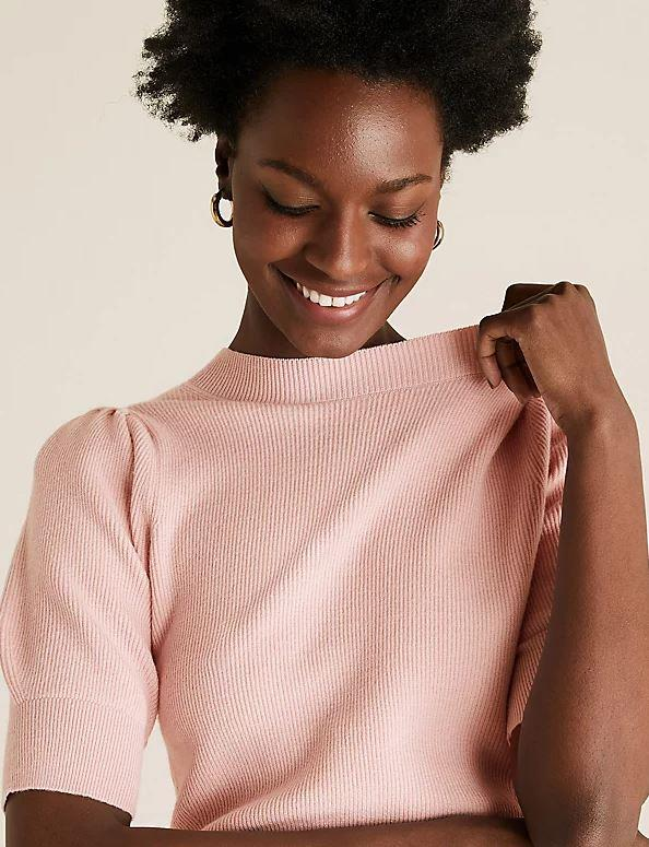 "Marks & Spencer Soft Touch Knitted Puff Sleeve Top, $42.50. **[Buy it online here](https://www.marksandspencer.com/au/soft-touch-knitted-puff-sleeve-top/p/P60497511.html|target=""_blank""
