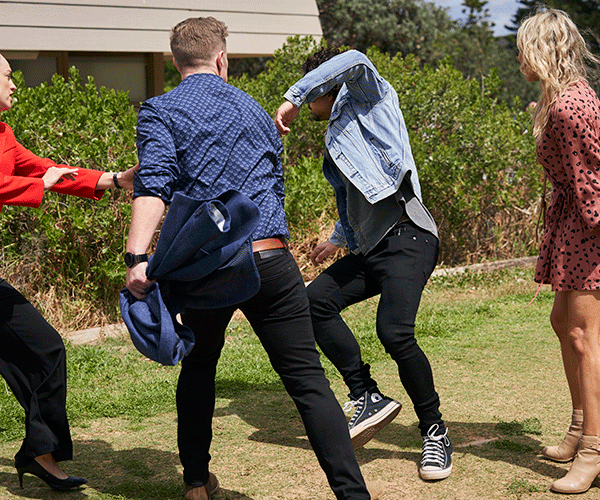 An angry Christian decks Lewis, with Tori and Jasmine powerless to stop him.