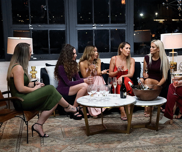 Samantha joined the girls' night with something important to share.