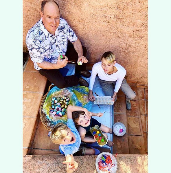Princess Charlene of Monaco shared this colourful, wholesome image of her family at Easter.