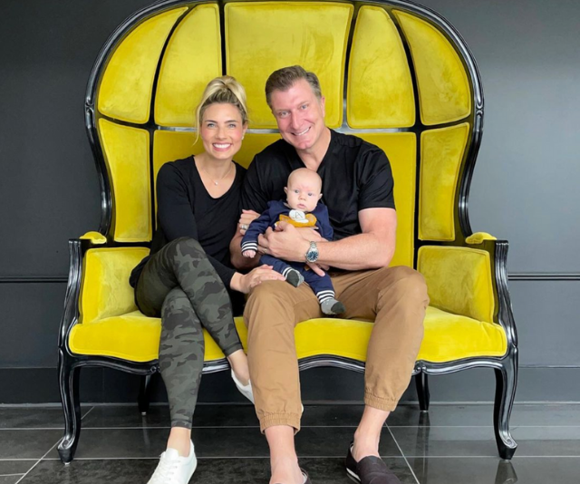 **Simon Pryce & Lauren Hannaford ** <br><br> So many FIRST Easters! Red Wiggle Simon and his gorgeous partner Loz commemorated the day as a family-of-three with son Asher.