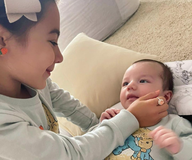 """** Maria DiGeronimo ** <br><br> *Yummy Mummy* star Maria DiGeronimo shared this gorgeous snap of her two children, [daughter Valentina and son Cartel.](https://www.nowtolove.com.au/celebrity/celeb-news/yummy-mummies-maria-digeronimo-son-67046 target=""""_blank"""")"""