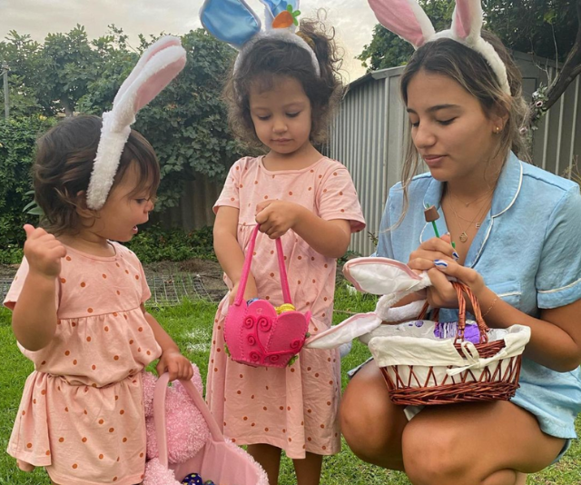 """**Sam & Snez Wood** <br><br>  It was """"Easter egg hunts at Baba and Dedo's"""" for *Bachelor* couple Sam and Snezana Wood's three girls."""