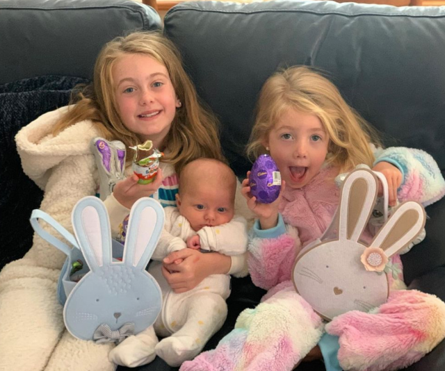 """**Grant & Chezzi Denyer** <br><br>  """"These 3 have had a good giggle as the Easter Bunny left some eggs on the floor and Mummy tripped on them 🙊,"""" Chezzie wrote. <br><br>  """"Hope your day is full of family, fun and laughter like ours 💜"""""""