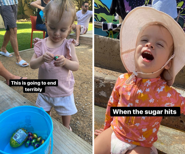 **Matty J & Laura Byrne** <br><br>  Hilariously real as always, Laura documented the before and after effects of chocolate binging on Marlie-Mae.