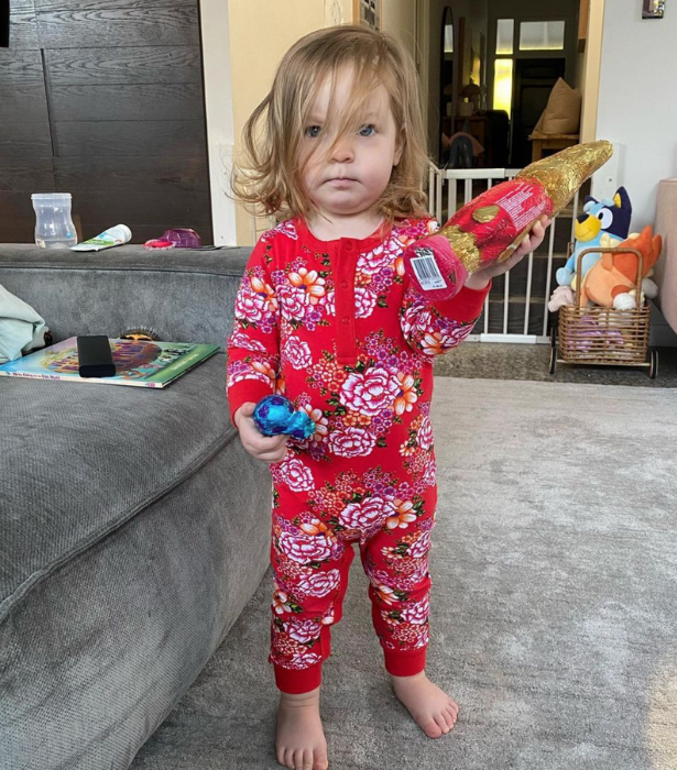"""**Fifi Box** <br><br>  """"Very serious little Easter egg hunter 🐣,"""" Fifi mused next to this snap of her youngest daughter Daisy."""